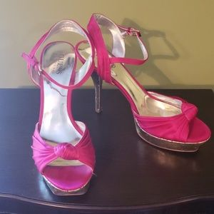 Guess open toe pink stiletto heels